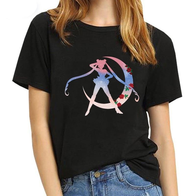 Camiseta Sailor Moon Kawaii de los 90s, camiseta de moda estética para mujer, camiseta Ulzzang de manga corta Harajuku con Gato bonito, camisetas de verano de dibujos animados