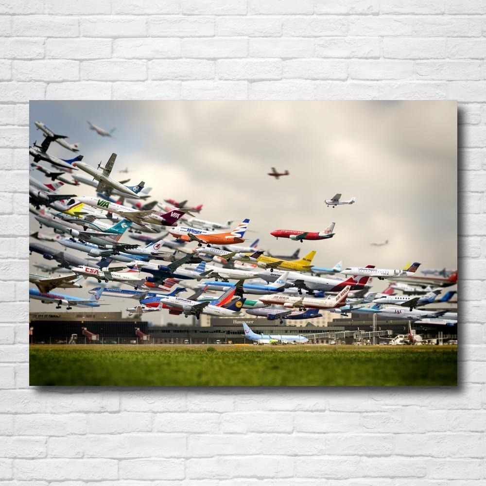 Papel tapiz con paisaje de avión o aeropuerto aéreo, carteles creativos e impresiones, lienzo, arte de pared, pintura moderna para decoración del hogar