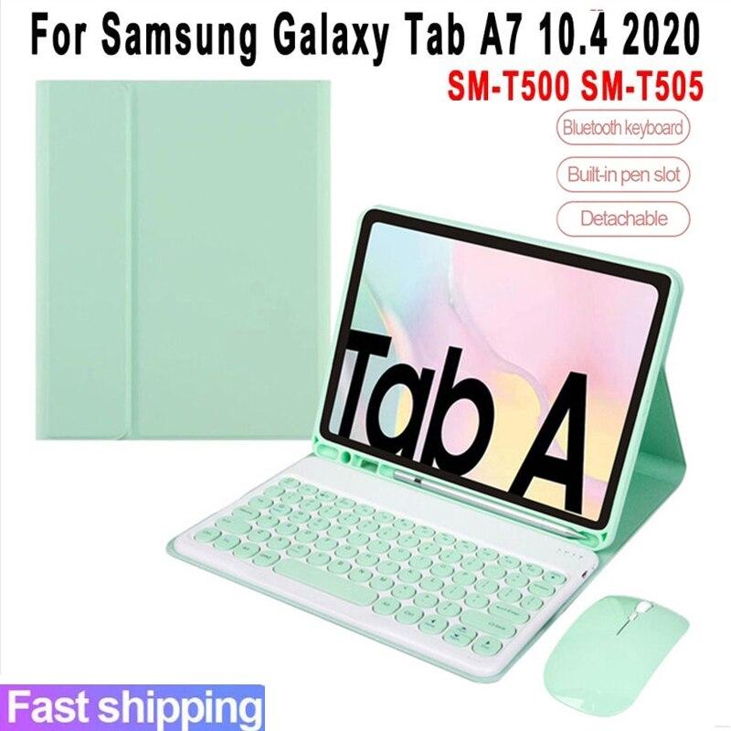 الحال بالنسبة لسامسونج غالاكسي تبويب A7 10.4 2020 لوحة المفاتيح SM-T500 SM-T505 بو الجلود غطاء بلوتوث لوحة المفاتيح فوندا مع الماوس