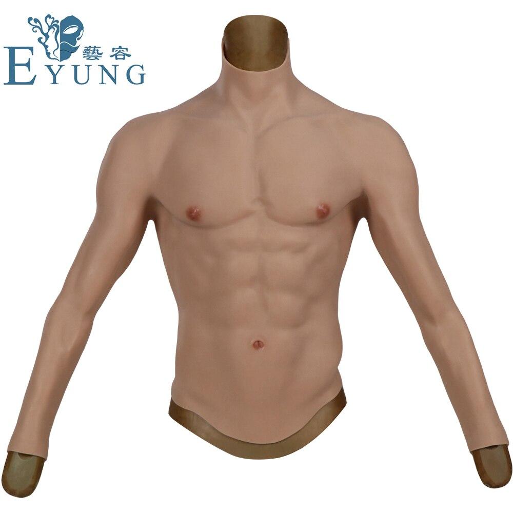 Eyung تأثيري الذكور دعوى وهمية العضلات الصدر الذكور الصدر كروسدرسر ماتشو واقعية سيليكون الاصطناعي محاكاة بكتوراليس