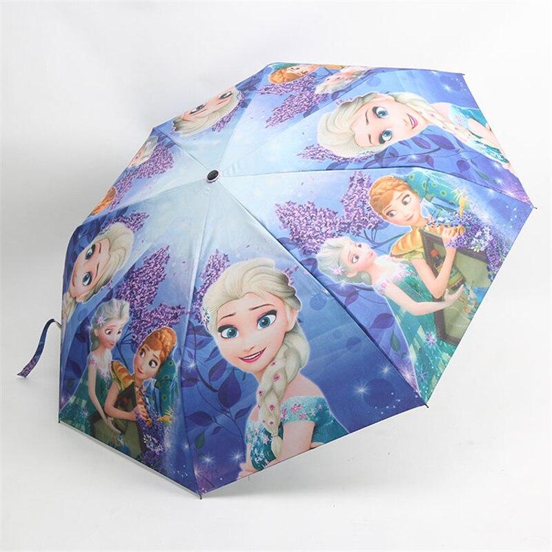 Disney mädchen Gefrorene Elsa Anna kinder regenschirm Drei-falten Regenschirm Student Sonnencreme UV Sonne Skid Kinder Outdoor Regenschirm geschenk