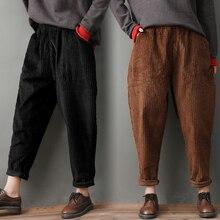 2020 Autumn and Winter Style Fat mm plus Size Corduroy Harem Pants Artistic Loose Elastic Waist Casu
