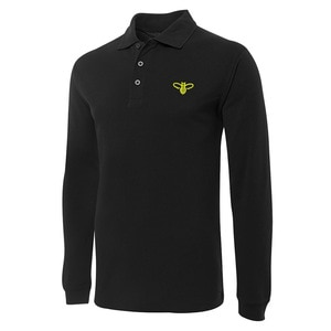 Cute Bee Embroidery Long Sleeve Polo Shirts Embroidered Men's Shirts
