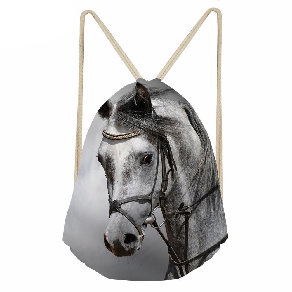 Bolsa WHEREISART Crazy Horse mochila con cordón para hombre mochila con estampado de animales bolso de espalda blanda para niños Bolsa Escolar con cordón ajustable