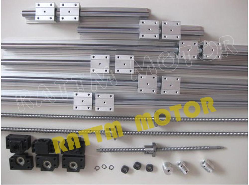 3 مجموعة الكرة المسمار SFU1605-350/900/1150 + 3BK/BF12 + 3 مجموعات SBR16 القضبان + 3 المقرنات ل CNC راوتر/آلة طحن