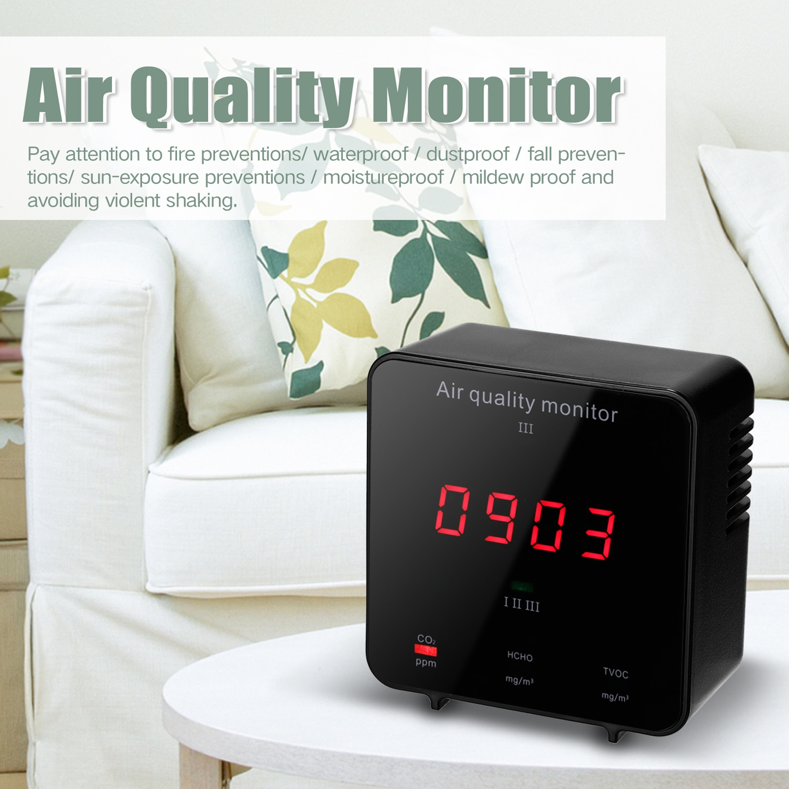 Air Quality Detector Formaldehyde HCHO Detector Carbon Dioxide CO2 Detector TVOC Detector Mini Protable Air Quality Monitoring
