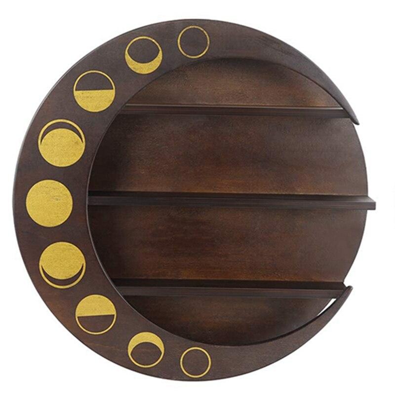 خشبية العائمة القمر الجرف الخشب الكريستال الجرف تخزين معلقة ديكور جدران المنزل لغرفة المعيشة غرفة نوم