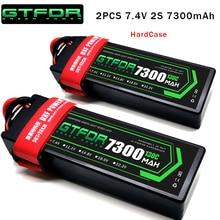 GTFDR 2 PIÈCES Batterie Lipo 2S 7.4V 5200mah 6200mAh 6500mah 7300mah 7000mah 50C 60C 100C 120C 200C 130C 260C HardCase Pour voiture RC