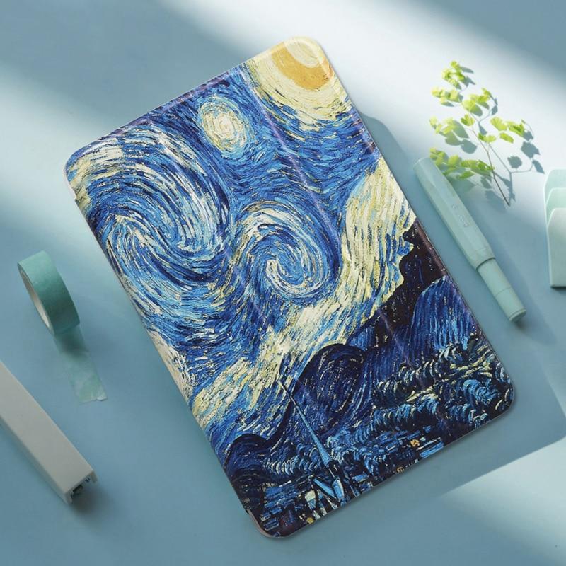 Para Huawei MediaPad T5 10 AGS2-W09/W19/L09/L03 Funda pintada de cuero PU soporte Folio Funda para Honor Play Pad 5 10,1 'cubierta inteligente