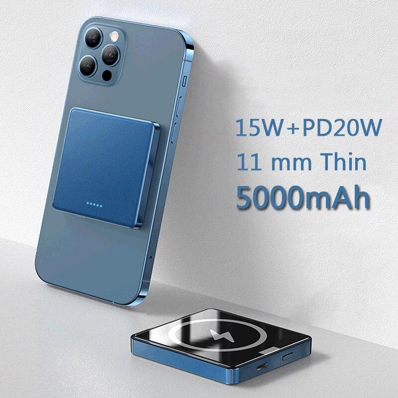 شاحن باوربانك لاسلكي صغير 10000mAh مغناطيسي 15 وات سريع الشحن لهواتف آيفون 12 13 باوربانك بطارية إضافية خارجية