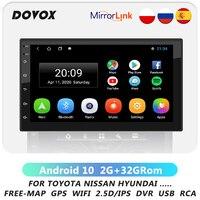 Автомагнитола на Android, универсальный мультимедийный видеоплеер с 2,5D сенсорным экраном, GPS Навигатором, для VW, Toyota, Nissan, Hyundai, типоразмер 2 Din