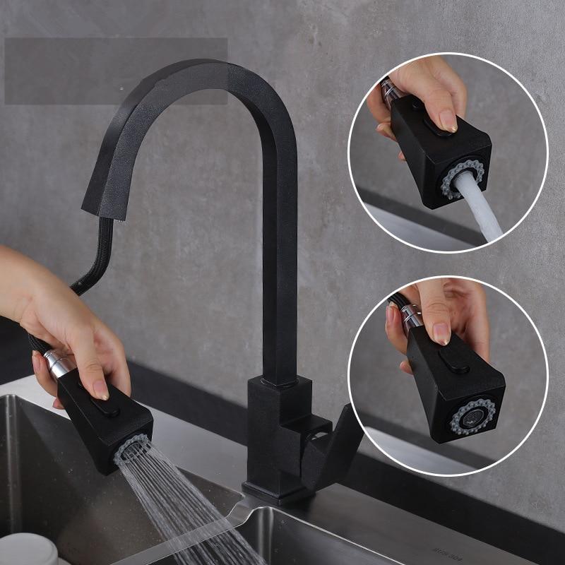 جديد الفولاذ المقاوم للصدأ 304 صنبور مياه للمطبخ بمقبض واحد الحنفيات مع سحب أسفل البخاخ ل بالوعة ماتي الأسود شريط المياه صنبور نافورة