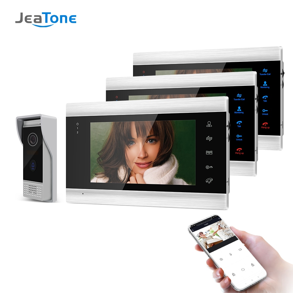 Jeatone 7 Inch Wireless/Wifi Smart IP Video Door Phone Intercom System with 3 Night Vision Monitor + 720P Doorbell Camera smart phone control wireless wifi video door phone intercom 720p hd 1 0mp outdoor camera ip doorphone doorbell system p2p