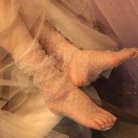 1pair sexy dot lace socks women transparent mesh ankle socks ladies ultra thin princess tulle socks female meias