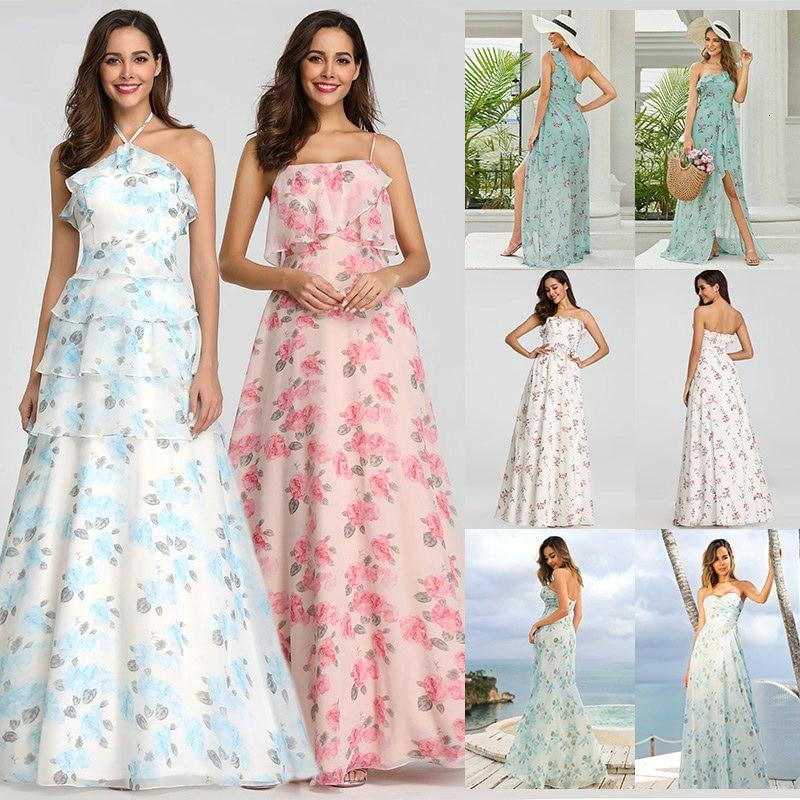 2020 New Bridesmaid Dresses Ever Pretty EP07242 Women Long Chiffon Printed Beach Dresses A-line Wedd