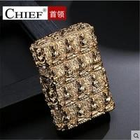 kerosene lighter chief luxury 3d thousand buddha retro embossed cigarette lighter mens gift cigarette accessories