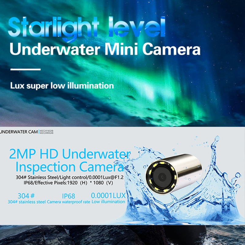9 pcs LED Stainless Steel Underwater Camera Deep Water Well Inspection Camera