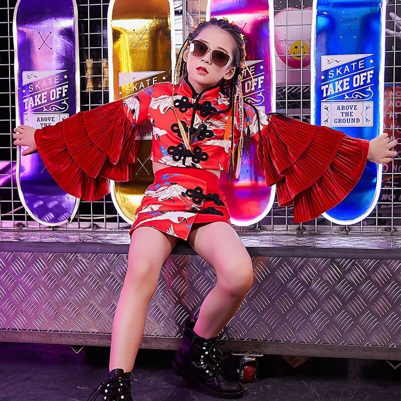 الأطفال المنصة موضة ملابس الاطفال الجاز الرقص الأحمر ملابس الفتيات الهيب هوب العصرية دعوى في سن المراهقة الحديثة الشارع ملابس رقص