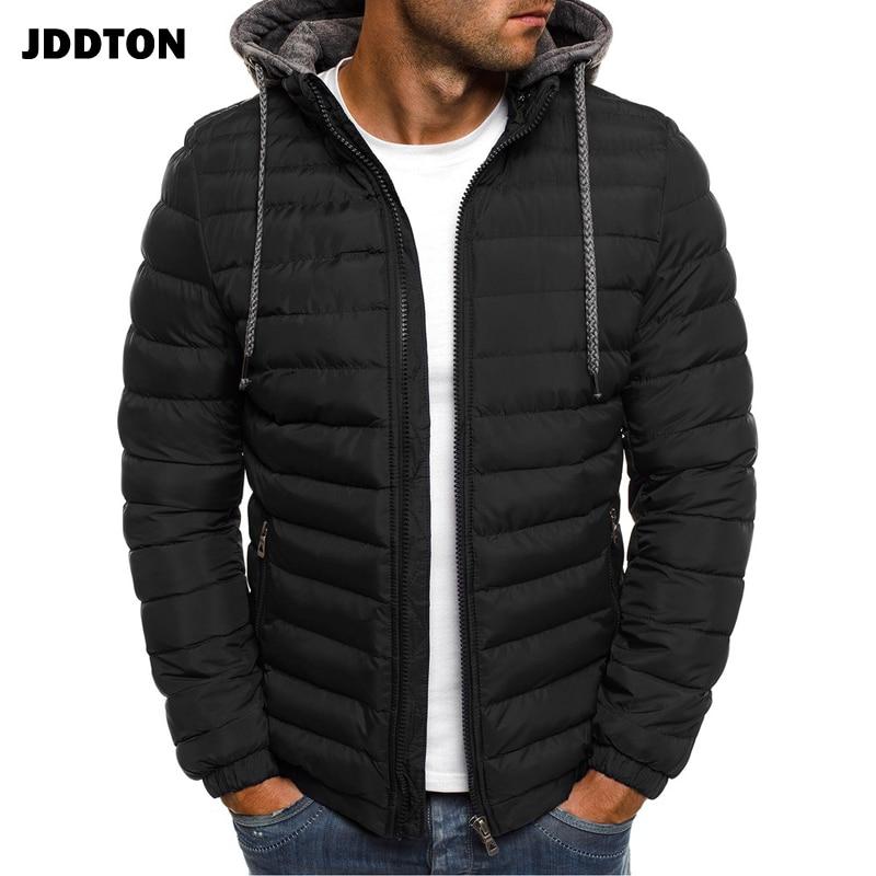 JDDTON, ropa de algodón con capucha para hombre, chaqueta, rompevientos térmico a prueba de viento, abrigos para hombre de Color liso, ropa de calle, talla Europea JE369