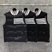 2021 tb fashion thom brand men coats slim fit short jacket striped solid down vest casual winter clothing
