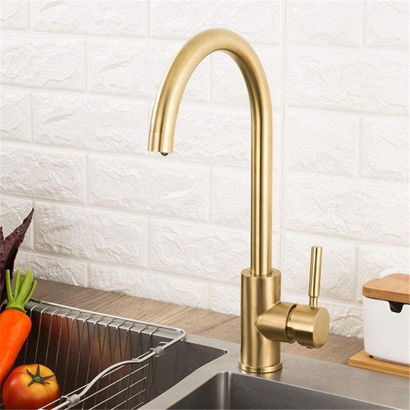 صنبور المطبخ الفولاذ المقاوم للصدأ wireأطقم ذهبية اللون المياه الباردة والساخنة صنبور خلاط اكسسوارات المطبخ