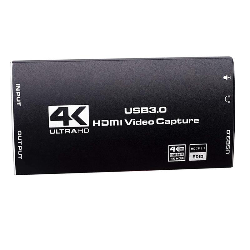 4K هدمي فيديو بطاقة التقاط الصوت والفيديو هدمي إلى USB3.0 لعبة بطاقة التقاط الصوت والفيديو 4K @ 60Hz هدمي المدخلات وحلقة خارج