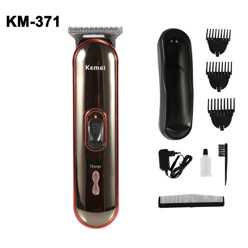 Maquinilla eléctrica para cortar el pelo de KM-371, recargable, inalámbrica, para hombres, recortador de barba, de 0mm, cortadora de pelo de cabeza baldeada