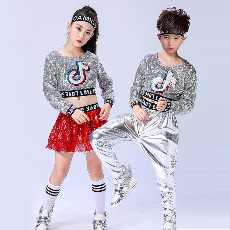 New Children Modern Jazz Dance Hip Hop Costume Boys Girls Sequined Cheerleading Performance Clothes Stage Wear