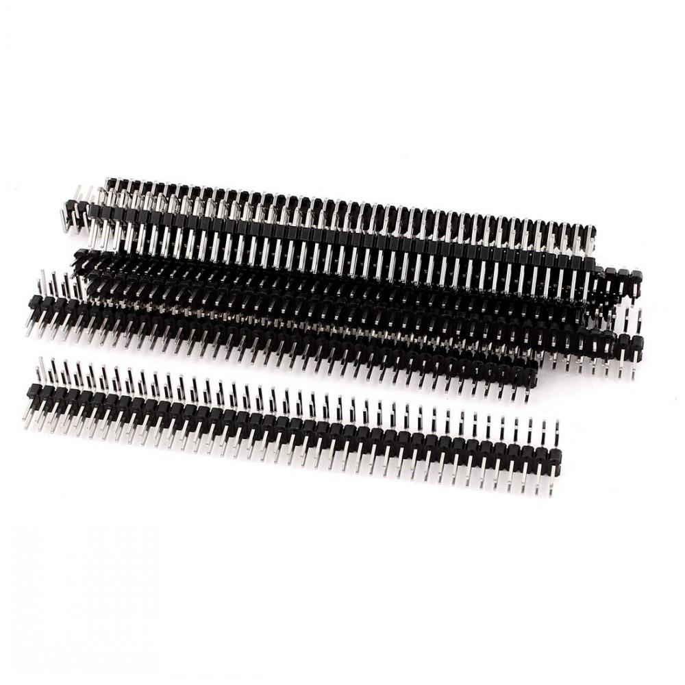 100 unids/lote 2,54mm 2x40 pines macho doble fila conector de pines de ángulo recto tira Pin cabezal doble fila ángulo para PCB BOARD ARDUINO