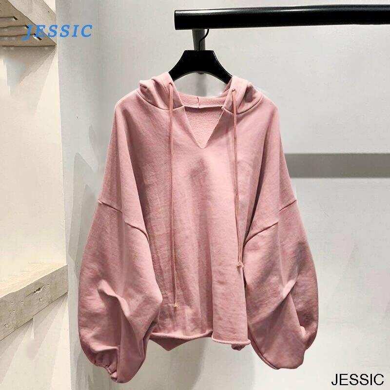 Jessic algodão hoodies moletom feminino lanterna manga oversize hoodies com decote em v cor sólida roupas femininas outono casual senhora topos