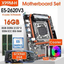 Комплект материнской платы JINGSHA X99 LGA 2011-3 с E5 2620V3 и 2 шт. x 8 ГБ = 16 Гб DDR4 2133 МГц ECC REG ОЗУ GTX960 2 Гб GPU охладитель