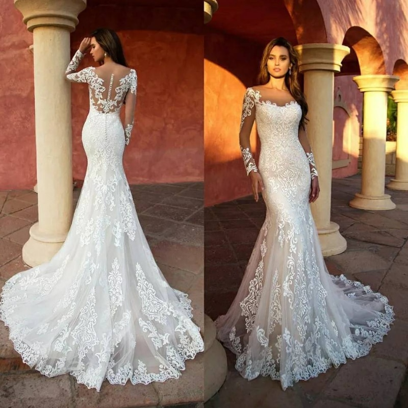 Promo Lace White Mermaid Wedding Dresses 2021 Long Sleeves Appliques Sexy V-Neck Vintage Long Bridal Gown Robe De Mariage Custom Made
