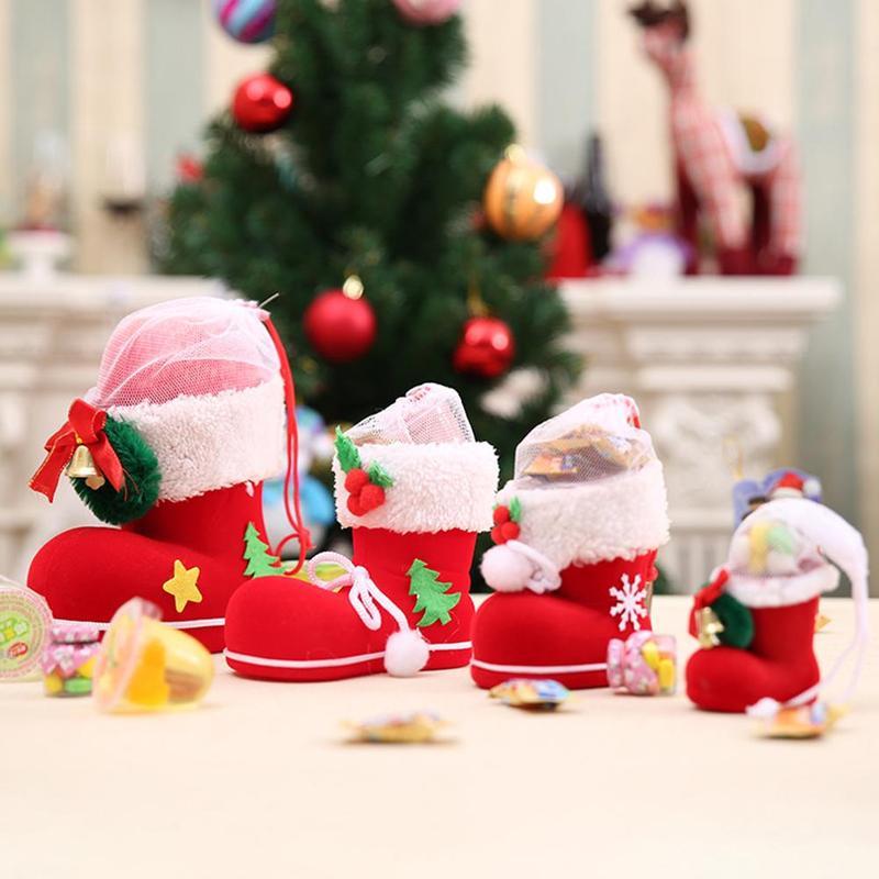 1 pçs criativo natal doces jar botas ano novo santa sapatos meia presente titular sacos festa de natal árvore pingente decorat