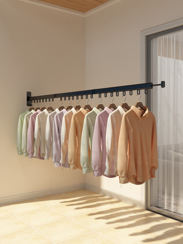 Balcony Folding Clothes-Hanging Wall Type Invisible Window Indoor Simple Clothes-Drying, Outdoor Telescopic Air Rod