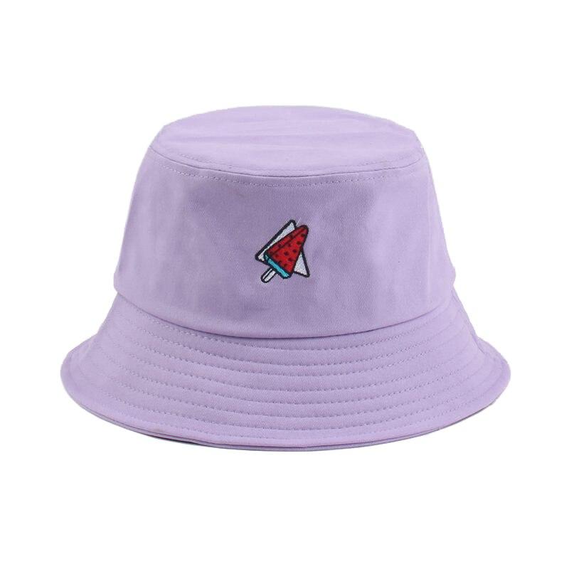 Sommer Wassermelone Stickerei Eimer Hut Frauen Mode Strand Sonne Hüte 100% Baumwolle Bob chapeau Femme Panama Hut Hut Fischer