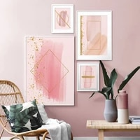 modern abstract gold foil geometric pink canvas art paintings for living room bedroom posters and prints wall poster home decor