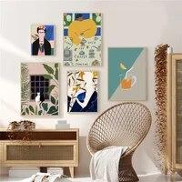 Affiche de mode Vintage abstraite pour femme  chat  plantes nordiques  peinture sur toile murale  style Boho  images tendance pour decoration de maison