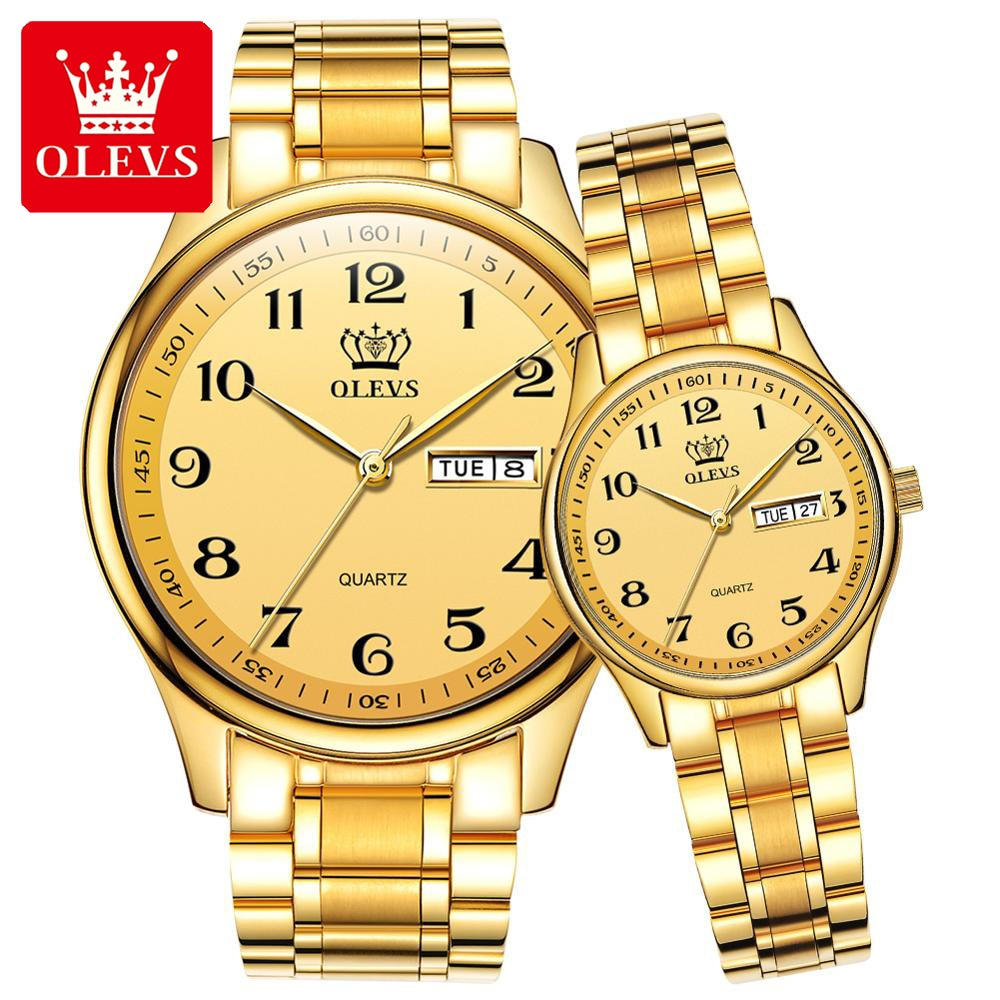 Luxury Brand Lover Watches Gold Stainless Steel Men And Women Watches Set Casual Dress Quartz Couple