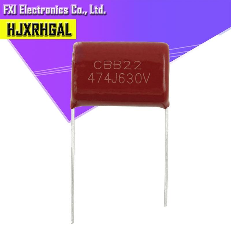 10 Uds 630V474J 0,47 UF 470NF paso 20MM 630V 474 CBB condensador de película de polipropileno nuevo