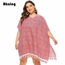 Grande taille plage couvrir tuniques sans manches glands robe de plage rose frange maillots de bain maillot de bain combinaisons maillots de bain pour les femmes