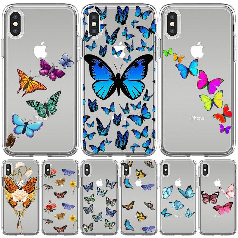 Fundas suaves de TPU para iphone 5, 5S, SE, XR, X, XS, Max, 6, 6S, 7, 8 Plus, 11, 11, 11Pro, Max, bonitas Fundas de teléfono con estampado de mariposa