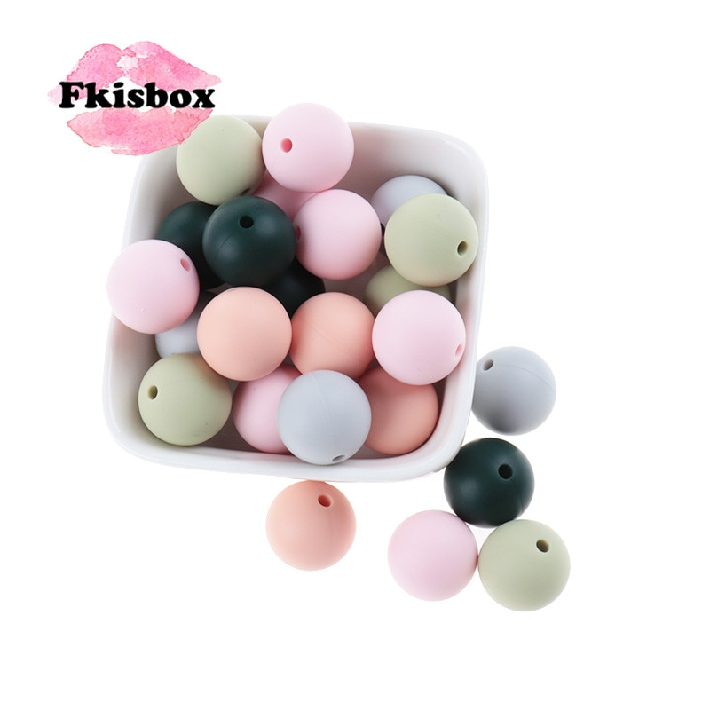 Fkisbox 500pc Silicone 9mm Round Loose Beads BPA Free Baby Teething Nursing Teether Necklace Making Food Grade Chewable Colorful