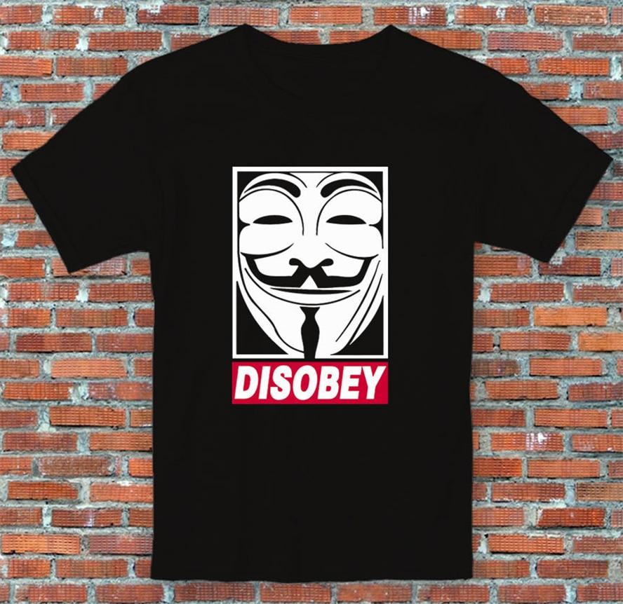 Disobey V para Vendetta Guy Fawkes película cómic inspirado camiseta S-2Xl camiseta festiva