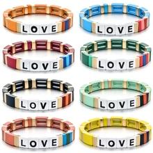 Atacado fábrica de saída carta amor boemia estilo artesanal esmalte arco-íris telha pulseira colorido pintado metal manguito pulseira
