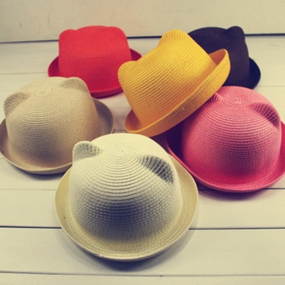 baby hat Novelty Summer Baby Hat Cap Children Breathable Straw Hat Kids Boy Girls Hats Шапка детская newborn photography props
