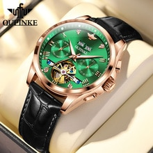 OUPINKE Automatic machinery Watches For Men's Genuine Leather Strap  Business Waterproof Luminous Au