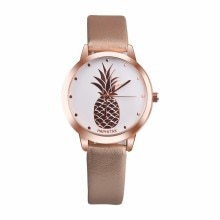 Womens Pineapple Watch Simple Vintage Sweet Leather Faux Strap Casual Quartz Watch Ins Trend Candy C