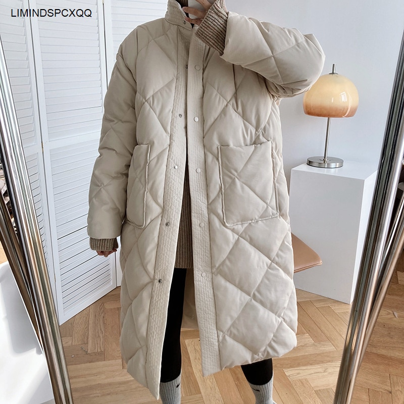 2021 Winter New Korean Style Long Cotton-padded Coat Women's Casual Stand-up Collar Argyle Pattern Oversized Parka Chic Jacket