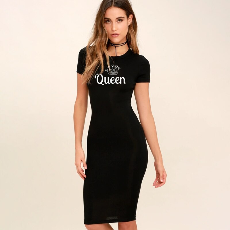 Women Bodycon Dress Summer O Neck Retro Queen Letter Print Mini Fitted Casual Short Sleeve Party Pencil Dresses Femme Robes