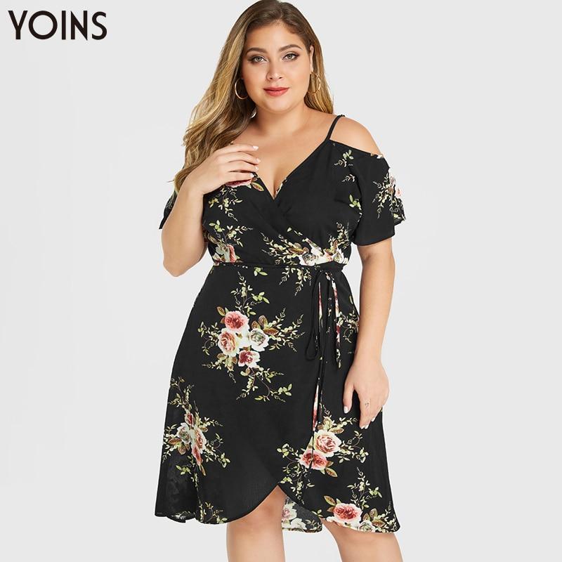 YOINS Bohemian Floral V-Neck Cold Shoulder Asymmetrical Hem Midi Dress 2020 Women Vintage Wrapped Dresses Plus Size Vestidos